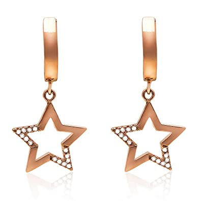 4d657d0ab 925 Sterling Silver Star Drop Women Earrings Rose Gold Plated with 5A Cubic  Zirconia Leverback Dangle