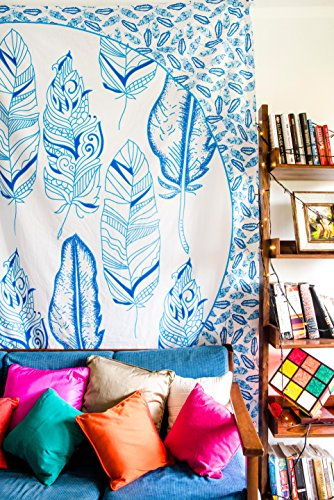 Blue Feather Mandala Bedding with Pillow Covers, Indian Bohemian Hippie Tapestry Wall Hanging, Hippy Blanket or Beach Throw, Mandala Ombre Bedspread for Bedroom, Blue Queen Size Boho Tapestry by Folkulture (Image #3)