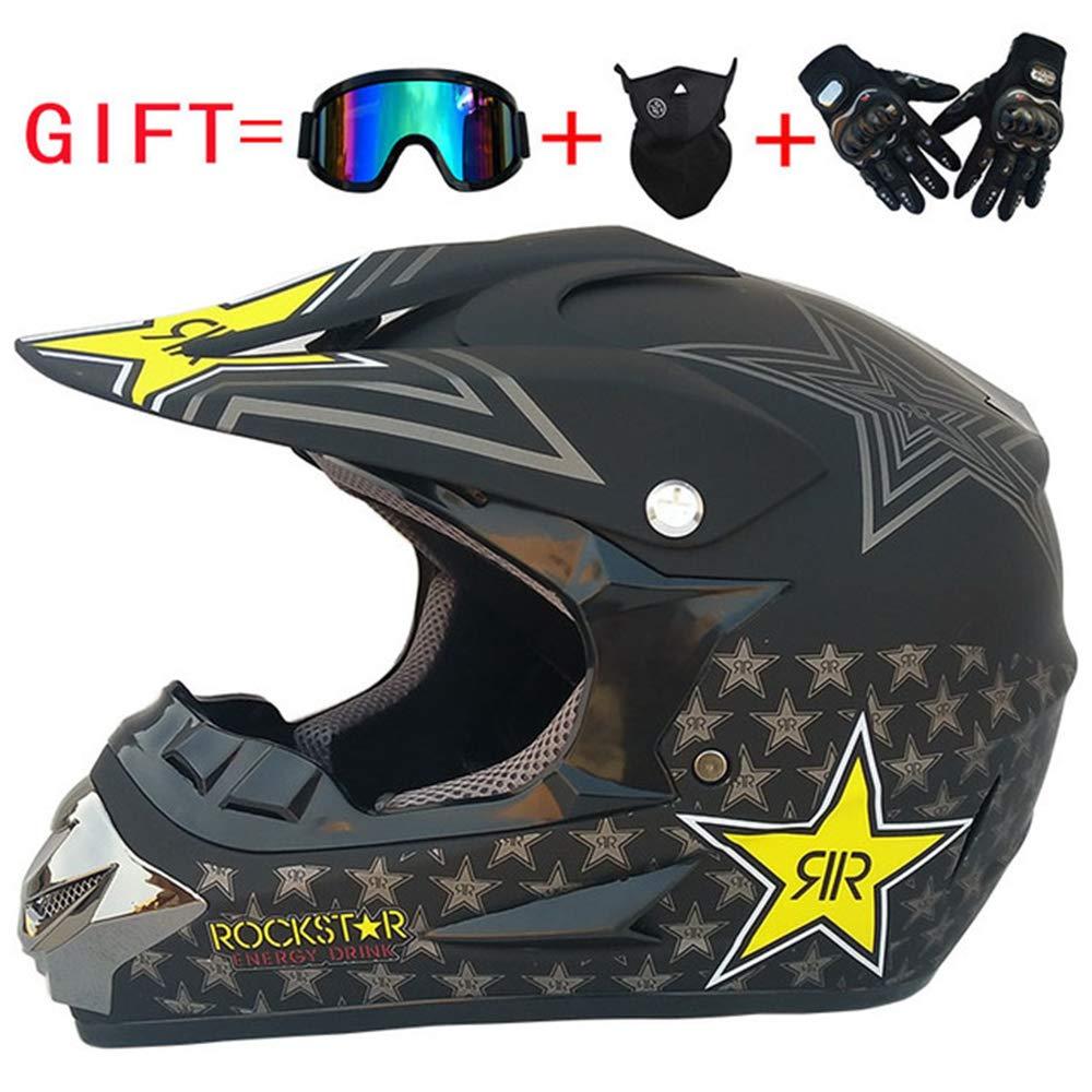 Horrgasd Adult Rockstar Motocross Helmet,MX Motorcycle Helmet Dirt Bike ATV Scooter DOT Certified Motorbike Helmet with Goggles Gloves Mask,S54~55cm