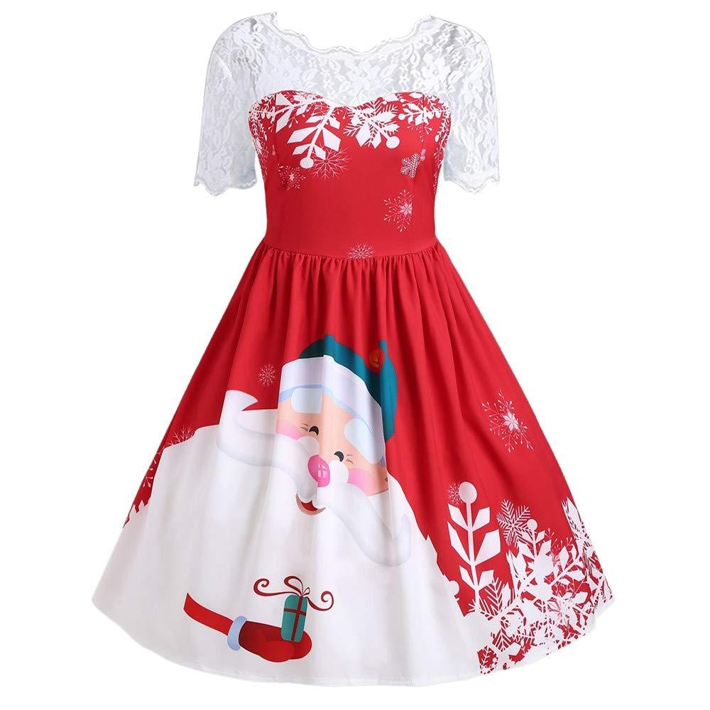 ALIKEEY Abiti da Donna con Stampa A Manica Corta in Pizzo Vintage Moda per Vestito da O-Neck da Festa di Natale