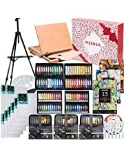 MEEDEN 148-Piece Deluxe Artist Painting Set with Aluminum and Solid Beech Wood Easel, Paint, Stretched Canvas and Accessories, Great Artists, Beginner & Adults