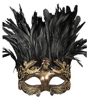 Horror-Shop máscara de calavera veneciana con plumas de oro/negro: Amazon.es: Juguetes y juegos
