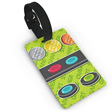 Amazon com: Arcade Button PU Leather Luggage Tags Suitcase