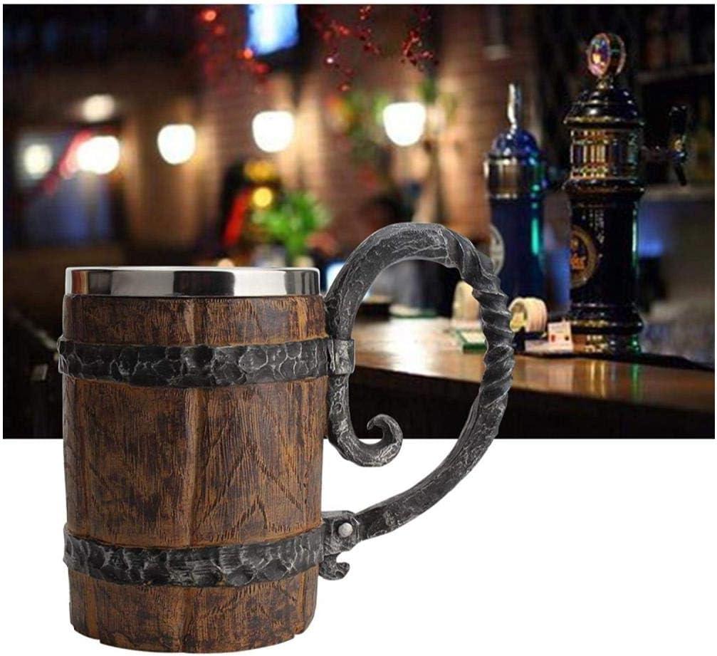 Wood Imitation Barrel Stainless Steel Beer Mug, Pirate Viking Cup Fantasy Medieval Tavern Wood Tankard for Bar Restaurant Home Decor, 22 ounces