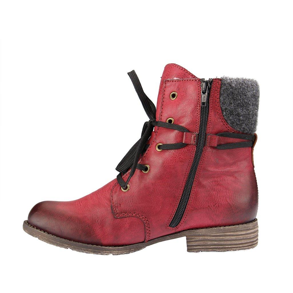 21dc91b490c0fd Rieker Damen Stiefeletten Schnürstiefelette Warmfutter sportlicher Boden  74722-35 rot 244307  Amazon.de  Schuhe   Handtaschen