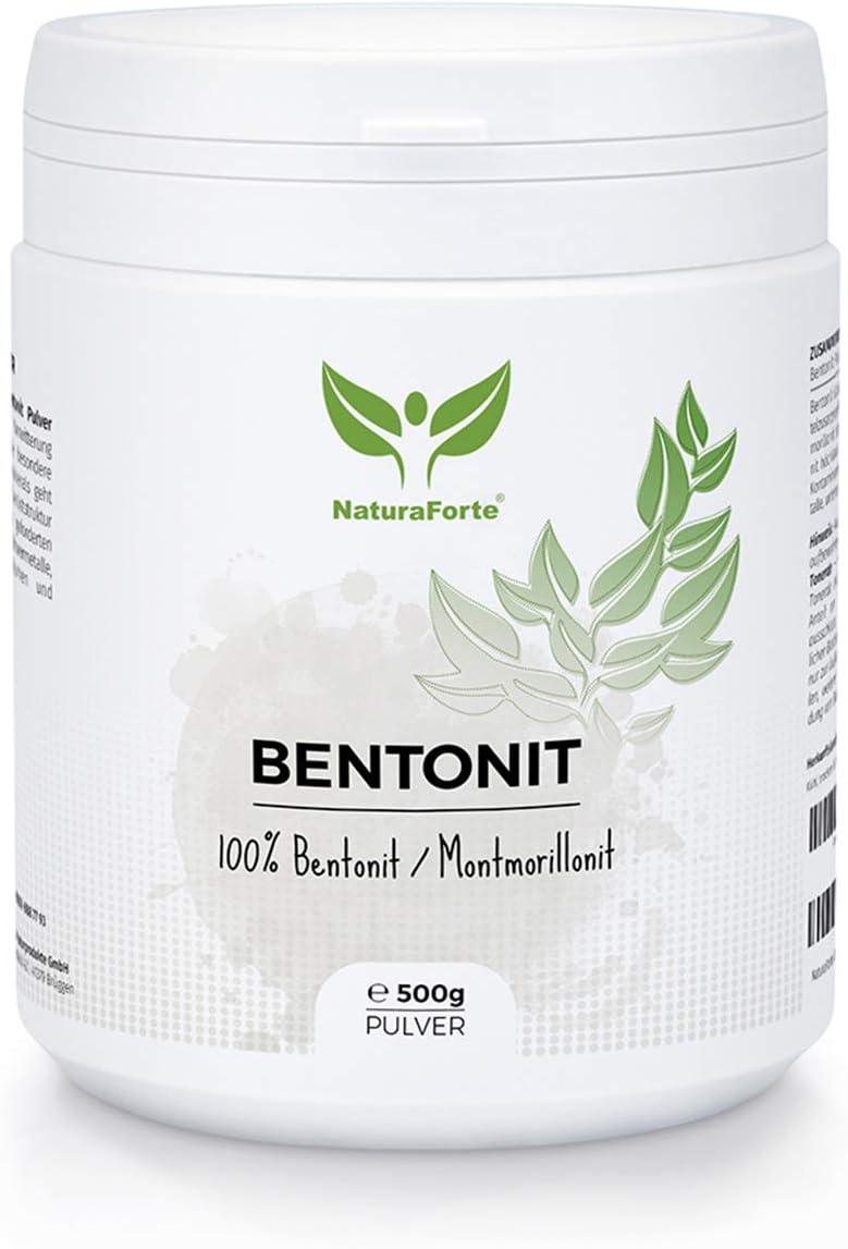 NaturaForte Bentonita Montmorillonita Polvo 500g - Extra Fina, Probada y controlada en Alemania