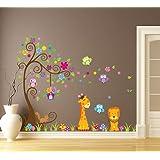Wallpark Grand Coloré Fleur Arbre avec Mignon Hiboux Girafe Lion Amovible Stickers Muraux Autocollants, Enfants Bébé Chambre Pépinière DIY Décoratif Adhésif Stickers Mural