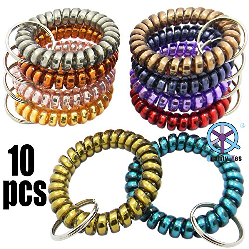 (QY 10Pack Metal Look Colorful Soft Plastic Spiral Coil Wrist Band Key Ring Chain)