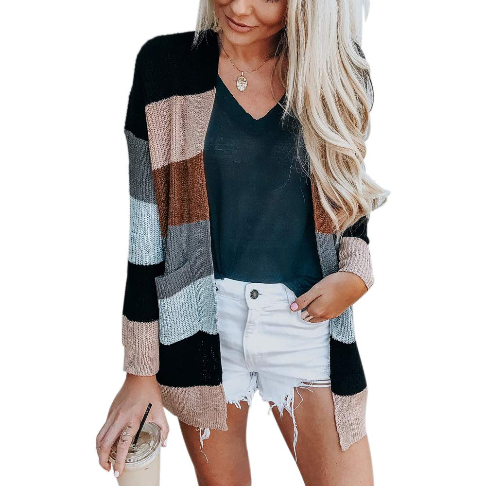 fc3667d22 ChongXiao Women Striped Color Blocking Sweater Knitted Cardigans for ...