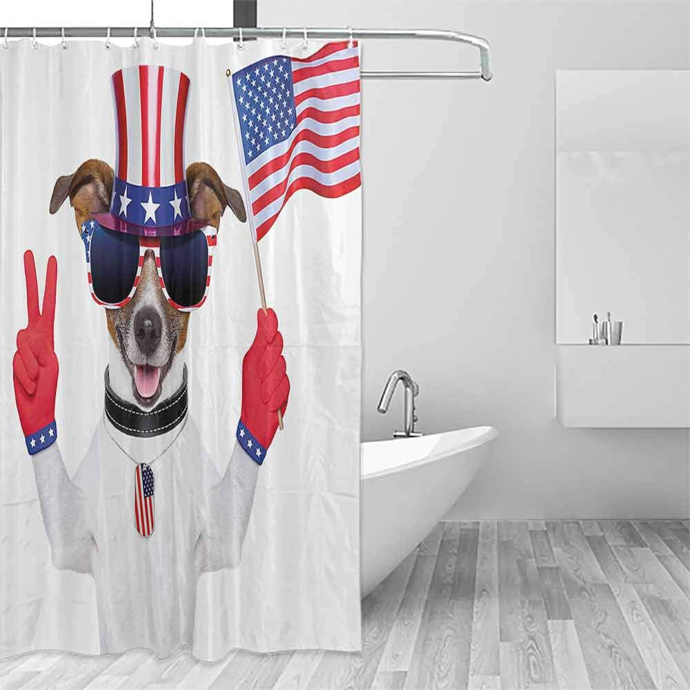 Hotel Style Shower Curtain 4th of July Funny Pet Dog with an Uncle Sam Hat Holding a Peace Sign and an American Flag Shower Curtains in Bath W72 xL84 Multicolor by Homrkey