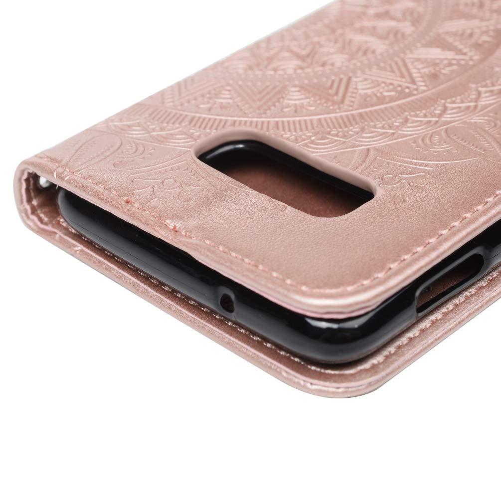 Gepr/ägte Totemblume Vorne schnallen Leder Handyh/ülle Klappbares Brieftasche Schutzh/ülle Wallet Case Cover mit Integrierten Kartensteckpl/ätzen Rose rot Mlorras H/ülle f/ür Samsung Galaxy S10e 5.8 Zoll