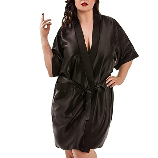 Mikkar Women Lingerie Sleepwear Bride Robe Satin Dressing Gown Plus ...