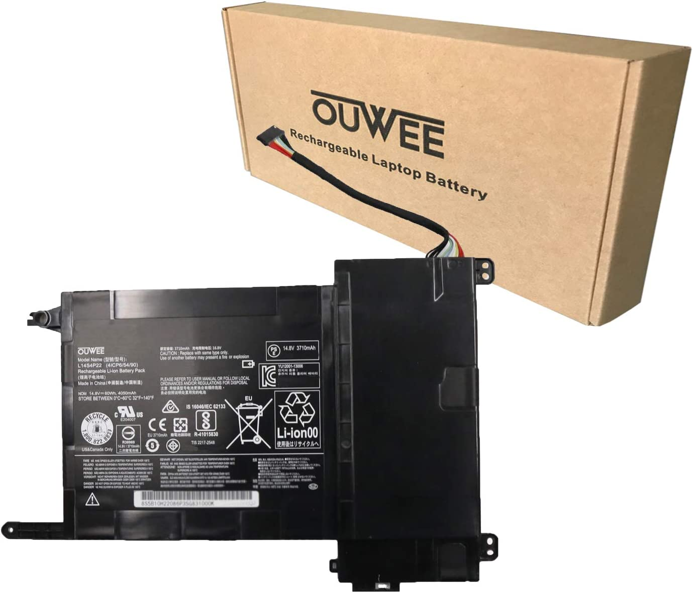 OUWEE L14S4P22 Laptop Battery Compatible with Lenovo IdeaPad Y700-15ACZ Y700-15ISK Y700-17ISK Y700 Touch-15ISK Series Notebook 14.8V 60Wh 4050mAh 5B10H22086 L14M4P23 5B10H22085 5B10H22084