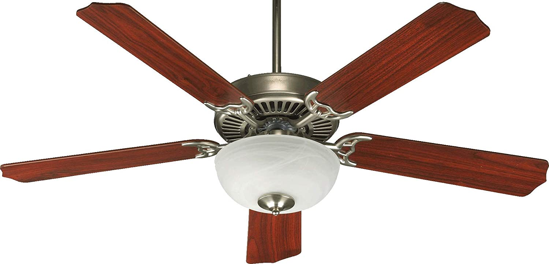Capri III Satin Nickel 52 Ceiling Fan with Light Quorum 77525-9265