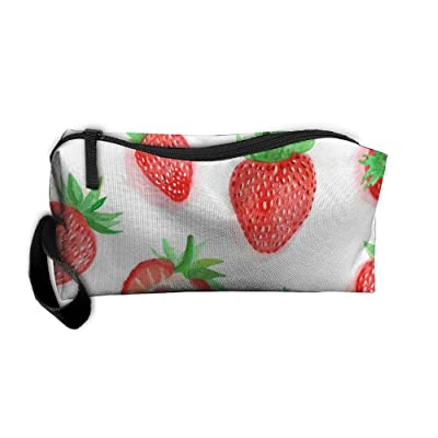 SDTTYHNM Travel Bag Cosmetic Bags Brush Pouch Sweet Strawberry Portable Makeup Bag Zipper Wallet Hangbag Pen Organizer Carry Case Wristlet Holder