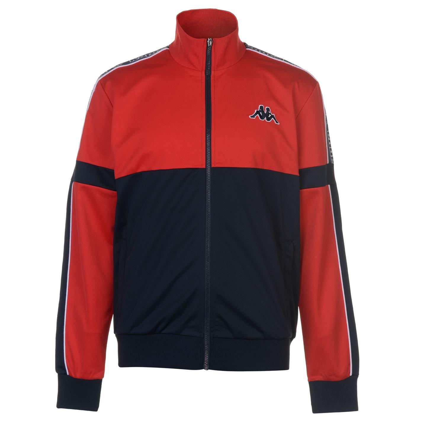 Kappa Mens Panel Jacket Tracksuit Top Coat Long Sleeve Zip Full Block Colour Red Extra LGE