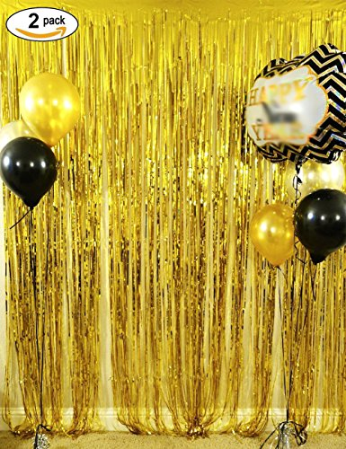 Langxun 3 ft x 8 ft Gold Foil Fringe Curtains | Photo Booth Background for Party, Prom, Birthday, Wedding, Event Decorations ( 2 Pack (Halloween Photo Background Ideas)