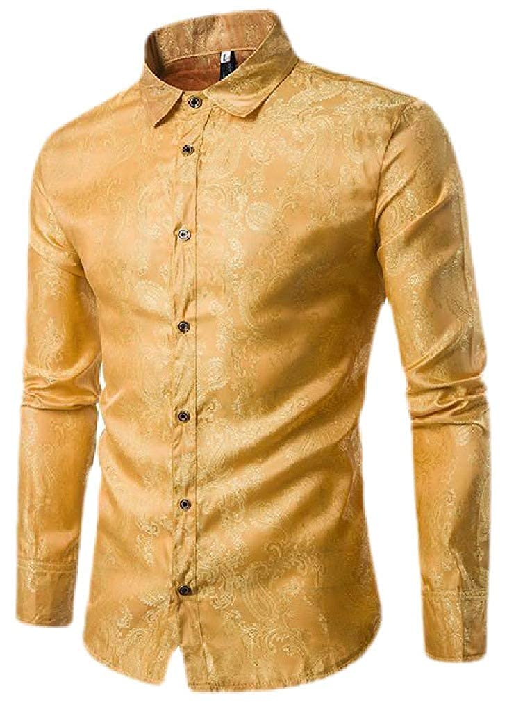 Sweatwater Mens Regular Fit Long Sleeve Casual Print Button Front Shirts