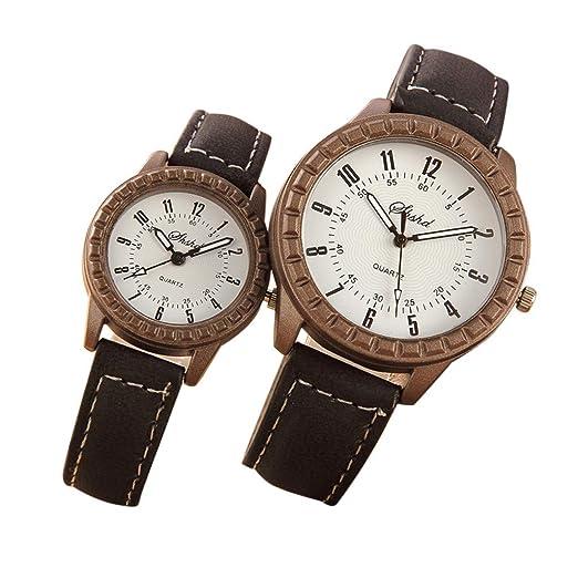 Dylung Reloj para la Pareja Relojes de Pulsera de Hombres Mujeres Unisex Reloj de Cuarzo Analógico de Aleación Correa de Piel Retro Casual de Moda Simple ...