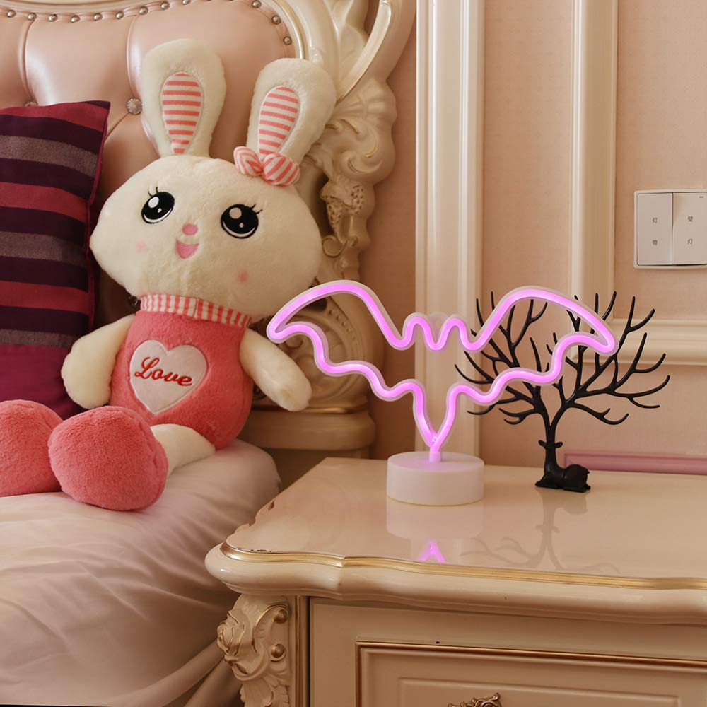 GUOCHENG Pink Shine Angel LED Neon Sign Pedsteal Neon Night Light LED Indoor Decor Night Table Lamps Neon Mood Lighting Marquee Sign for Wedding Birthday Party Bedroom Decor