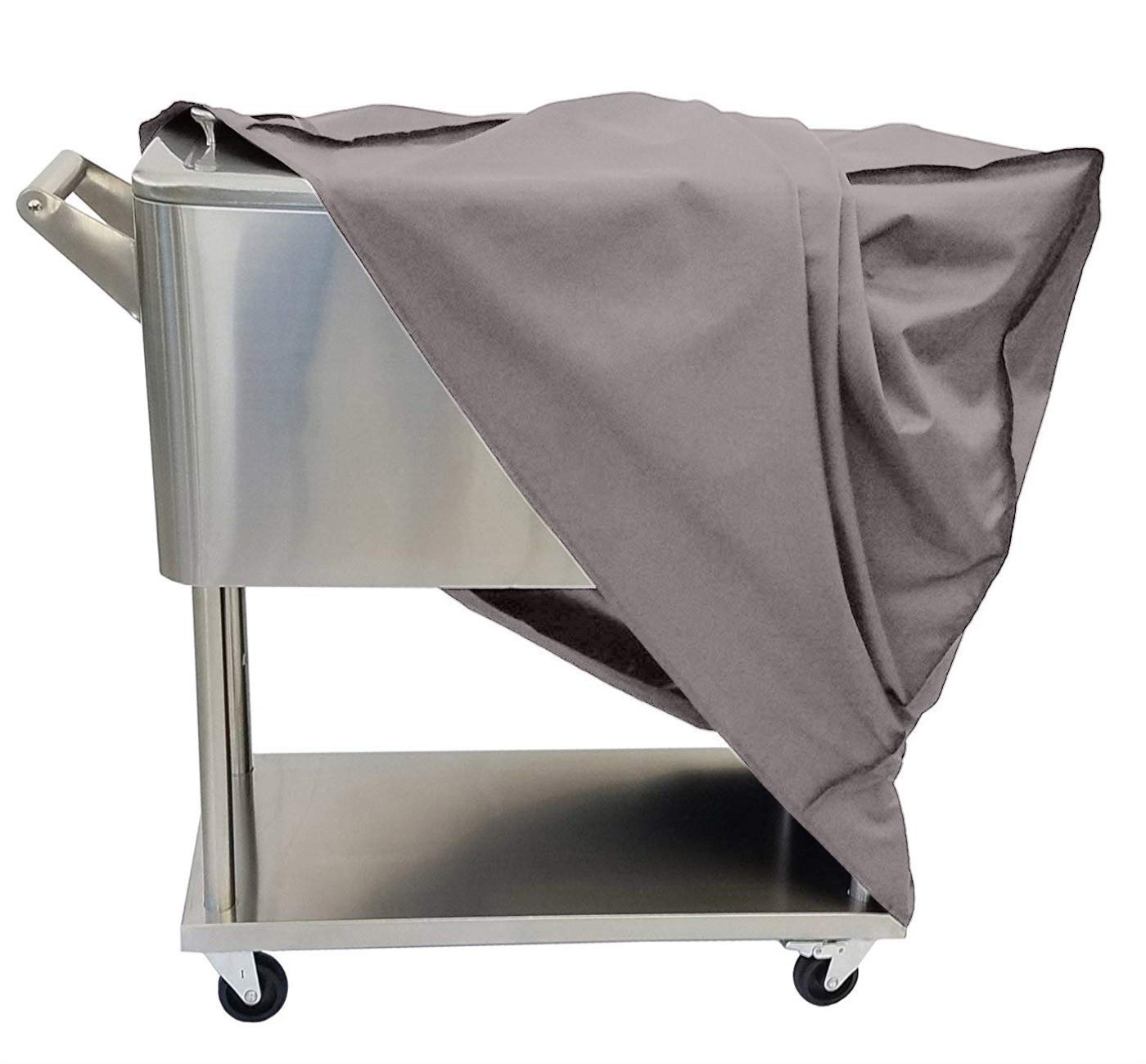 TUYU 80 QT Rolling Cooler Cart Cover, Universal Outdoor Waterproof Protective Cover Fit for Most Cooler, Patio Cooler Dust Cover for Beverage Cart, Rolling Ice Chest, Party Cooler (Grey) by TUYU