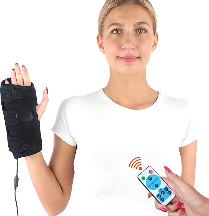 CHEROO Hand and Wrist Heated Wrap W/Remote Control, Auto Shut Off Far Infrared Heating Pad Hand Support and Compression Brace with Moist Heat for Finger Arthritis, Carpal Tunnel Pain Relief