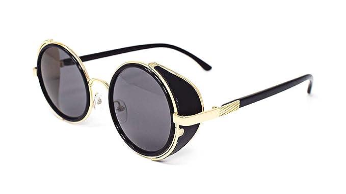 Ultra Steampunk Sonnenbrillen Gold mit grauen Linsen 50er Jahre Runde Gläser mit UV400 Schutz verfügbar in Gold Silber braun blau verspiegelten Leopardenmuster und Tee Kupfer Cyber HYgbOlLSbF