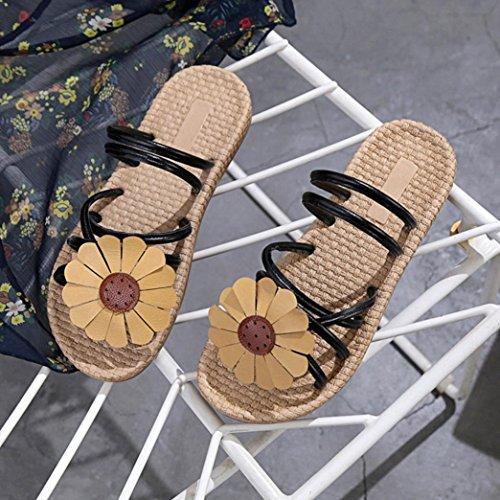 Chaussures Noir Tongs L'été Compensées À Glissière Femme Ansenesna Femme Tournesol Sandales paUwxOFqO