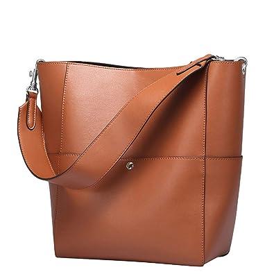 a3bc6f4b461c YALUXE Women's Portable Stylish Leather Medium Bucket Handbag Shoulder Bag