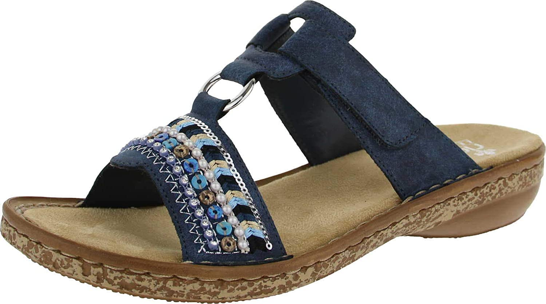 628M6 14 Ladies Blue Slip On Sandals