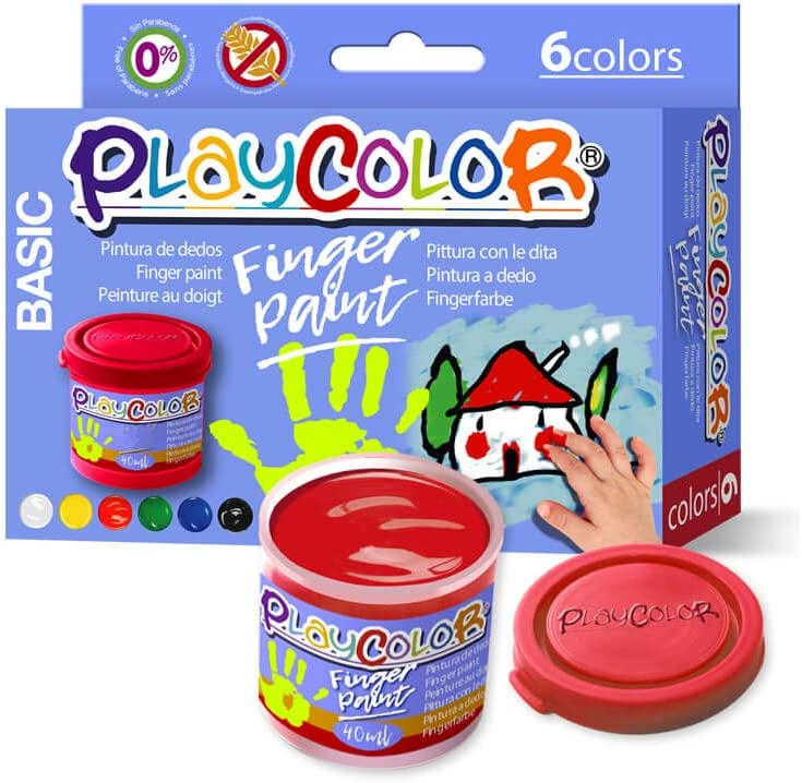 Instant Finger Paint Pintura Dedo Playcolor Basic 40ml 6 Colores, Variados, 6 (17591)