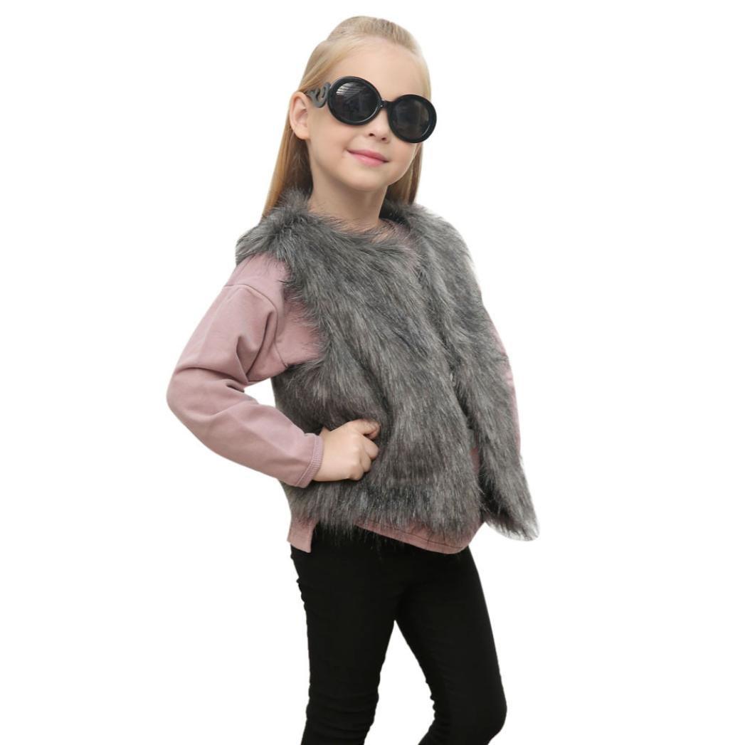 Staron Baby Girls Faux Fur Vest Coat Kids Autumn Winter Thick Warm Outwear Cute Waistcoat