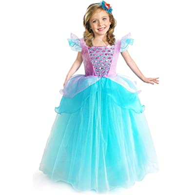CQDY Ariel Princess Dress Little Mermaid Halloween Costumes Dress Up Party Girls Cosplay Kids Ball Gown: Clothing