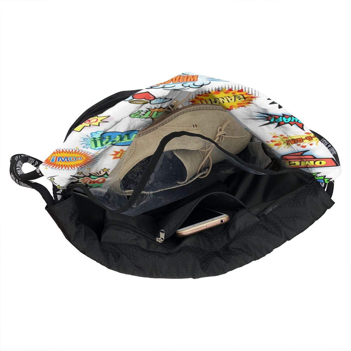 HUOPR5Q Inkjet Printing Drawstring Backpack Sport Gym Sack Shoulder Bulk Bag Dance Bag for School Travel