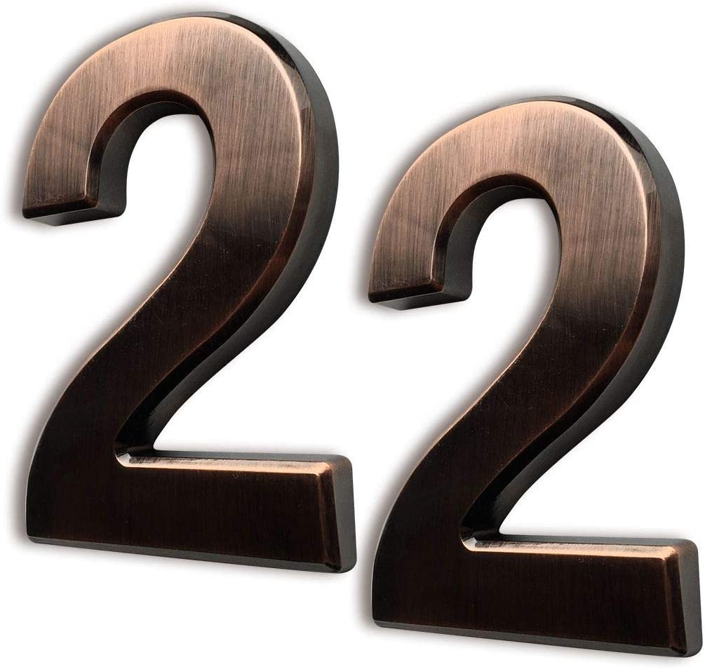 2 Pcs 4 Inch House Numbers 2, Self-Stick Bronze Address Number Stickers for (Mailbox Post, Apartment Door, Outside, Yard) Double 2, Metal Shining, by Sureyear. (4 Inch - NO.2, Bronze)
