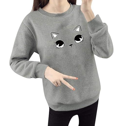 2cb9e6e9 Women Plus Size Blouse Pgojun Fashion Long Sleeve O-Neck Cat Face Cartoon  Print Loose Tops at Amazon Women's Clothing store: