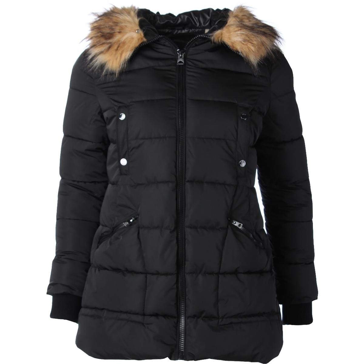 GUESS Womens Quilted Parka Coat Black XL