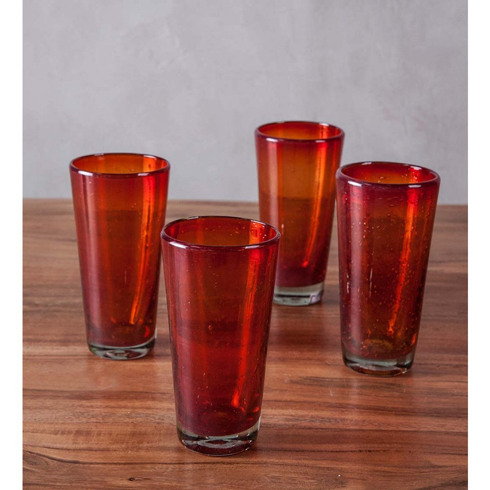 Bright Bubbled Recycled Glass Tea Glass Set of 4 - Red - 7 H x 3.75 diameter, 16 oz. capacity
