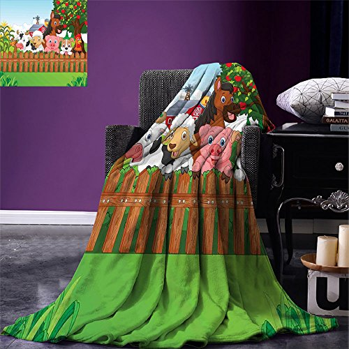 smallbeefly Cartoon Throw Blanket Cute Farm Animals on the Fence Comic Mascots with Dog Cow Horse for Kids Decor Warm Microfiber All Season Blanket for Bed or Couch Multi