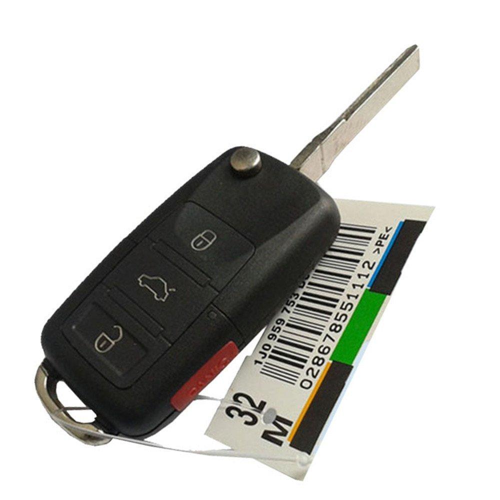 Horande 4ボタン折りたたみリモートキーBoraゴルフポロPassat Jettaフリップリモートキーシェルnoチップ空白の内側Fob B01FVWQGO0