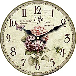 ShuaXin 16inch Vintage Arabic Numerals Flower Design Clocks Wooden Decorative Round Wall Clock for Room Decoration (Flower-03)