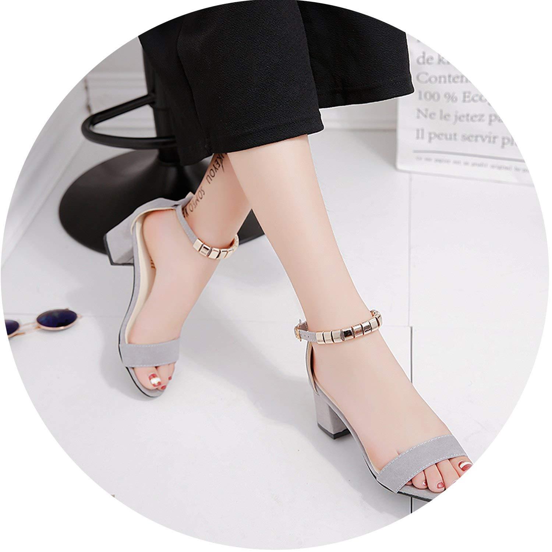 HANBINGPO Metal String Bead Summer Women Sandals Open Toe Shoes Womens Sandles Square Heel Women Shoes Korean Style Gladiator Shoes m668,Black,9.5
