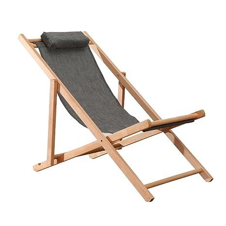 ZJM-tumbona Silla de Playa Silla de Madera Plegable al Aire ...