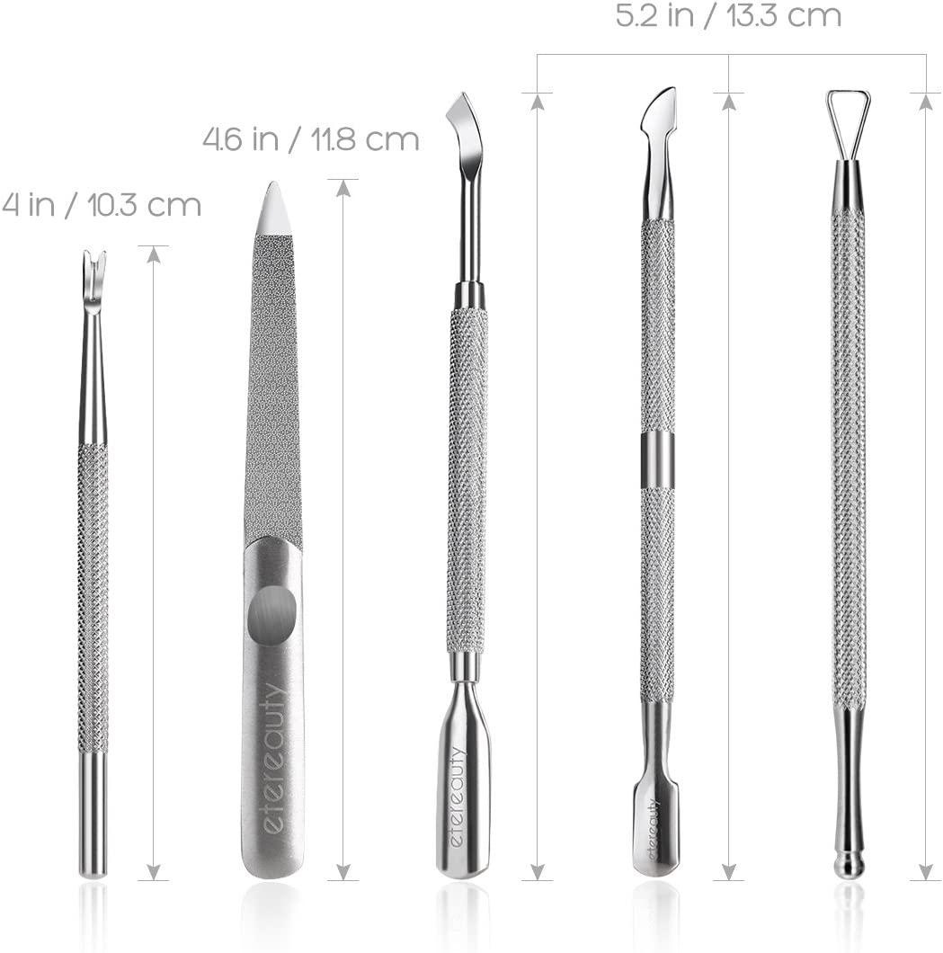 Cuticle Pusher, Cuticle Remover Tool Stainless Steel Gel Nail Polish Polished Kit Gel Nail Kit with Storage Case