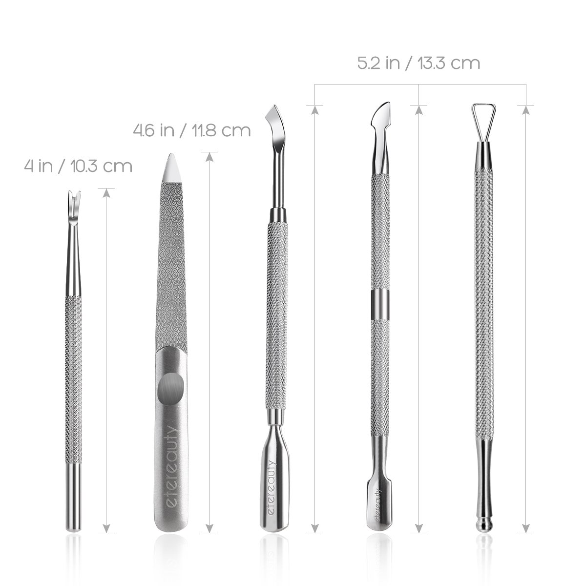 Stainless Steel Cuticle Pusher Cuticle Remover with Storage Case