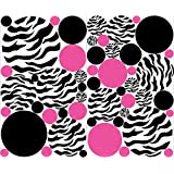 Zebra Print Polka Dot Wall Decals with Hot Pink and Black Dots Wall Stickers / Zebra Print Decals