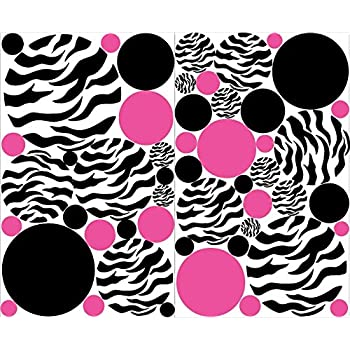 Zebra Print Polka Dot Wall Decals With Hot Pink And Black Dots Wall Stickers  / Zebra Part 98