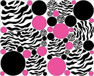 Amazoncom Zebra Print Polka Dot Wall Decals With Hot Pink And - Zebra print wall decals