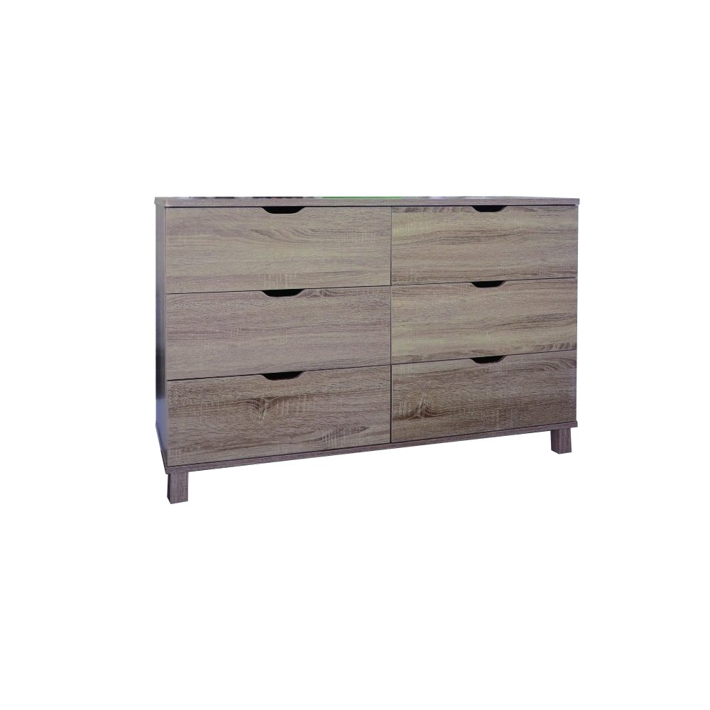 Benzara Commodious Brown Finish Dresser with 6 Drawers