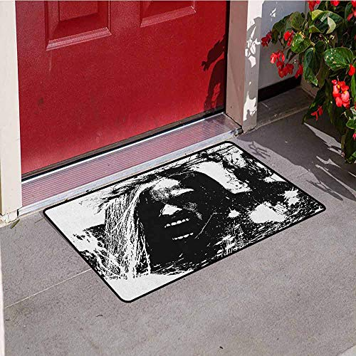 Gloria Johnson Zombie Commercial Grade Entrance mat Artistic Horror Sketch of a Crazy Man in Pain Screaming Portrait Evil Style Display for entrances garages patios W23.6 x L35.4 Inch Black White (Skull Screaming Matte)